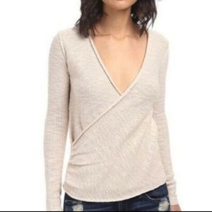 Free People Blush Nude Wrap Sweater Top V Neck